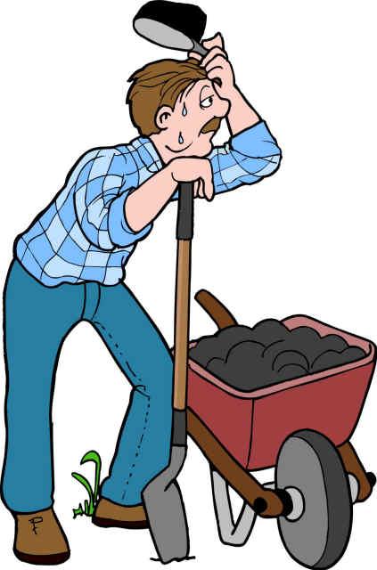 farmer with wheel barrow