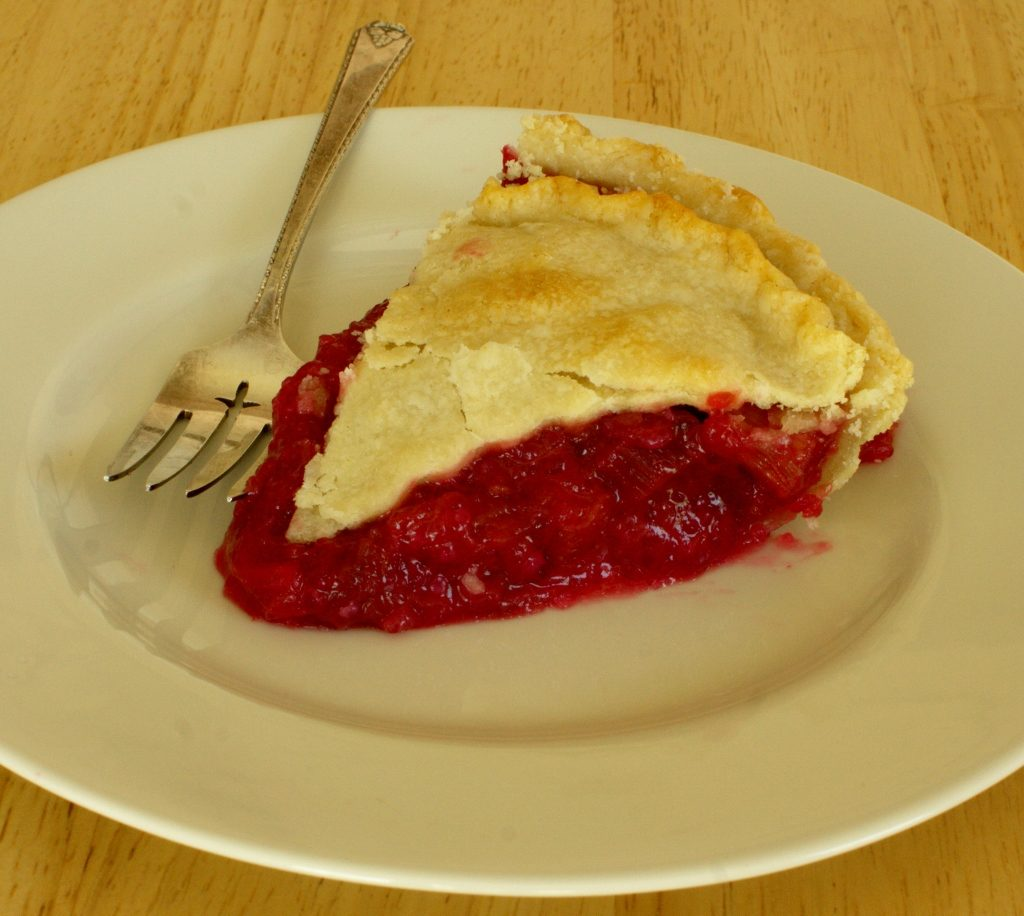 slice of rhubarb pie made from Colorado Red rhubarb