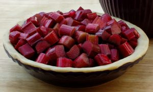 Chopped Colorado Red rhubarb in a bowl