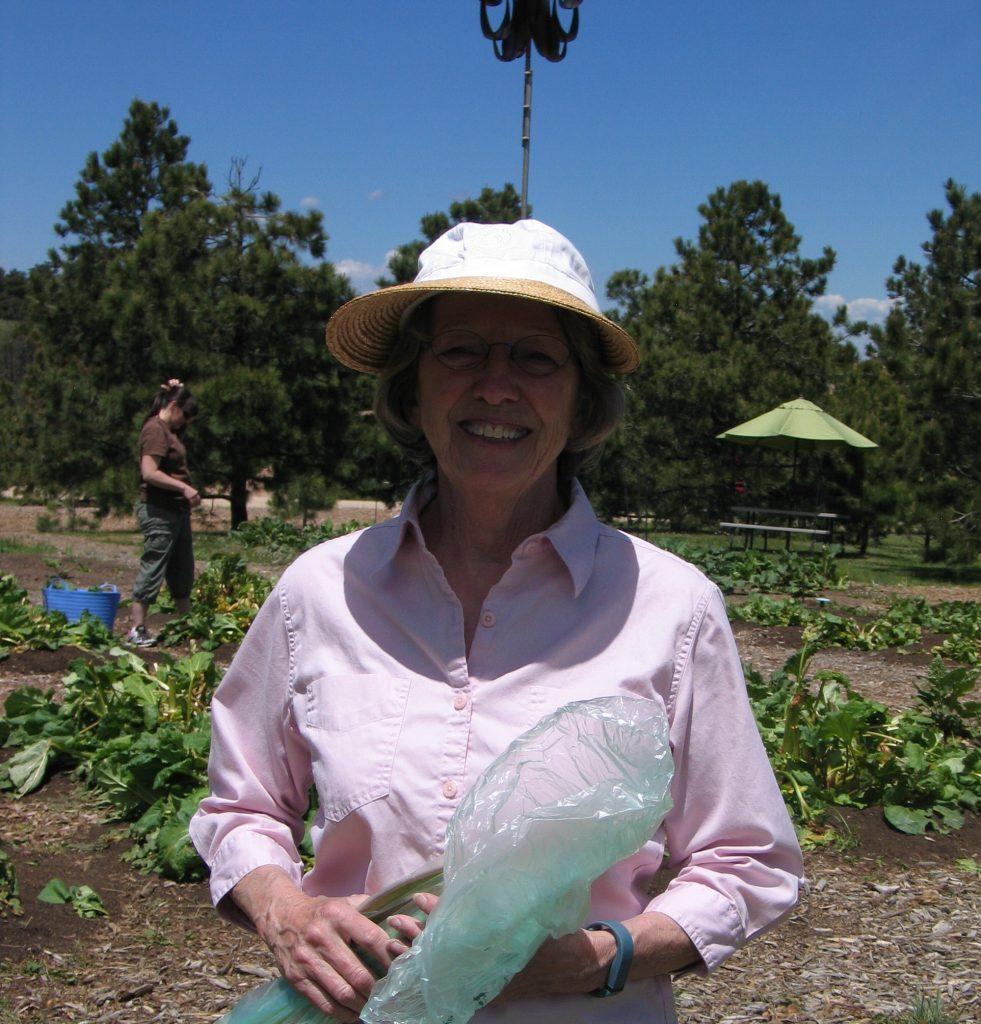 smiling rhubarb picker